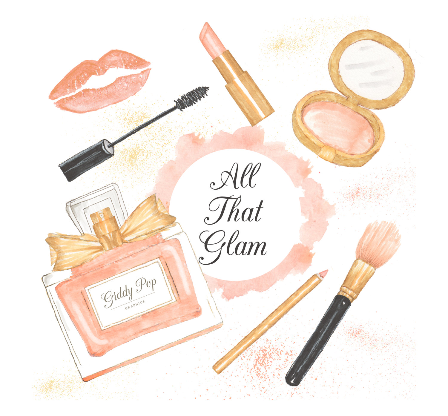 Watercolor cosmetic fashion . Makeup clipart