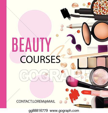 Vector stock beauty courses. Makeup clipart banner
