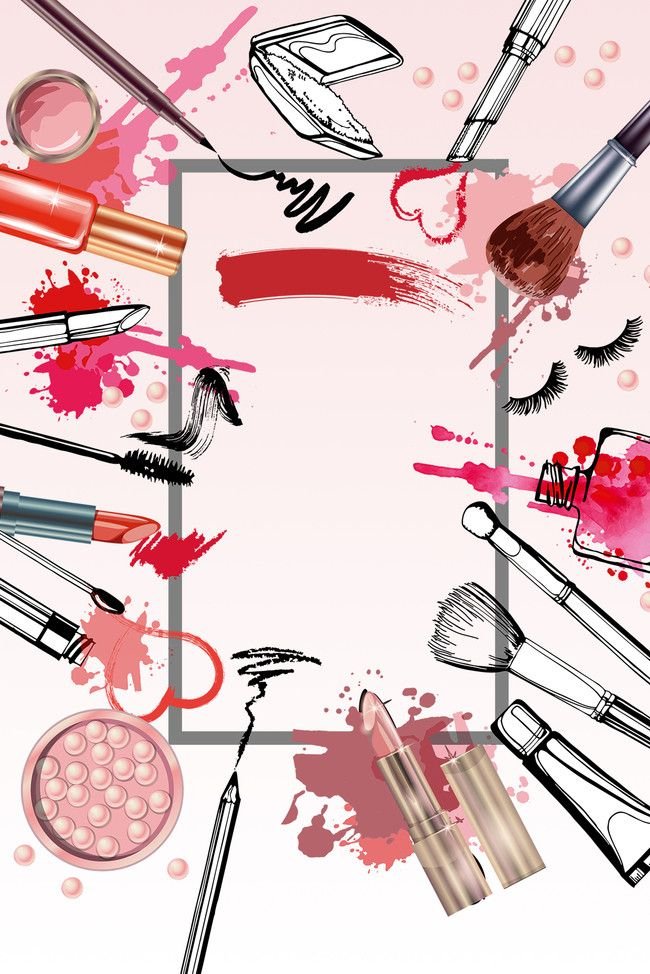 Beauty cosmetics poster background. Makeup clipart banner