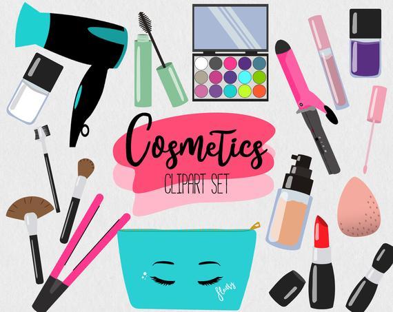Cosmetic set beauty vector. Makeup clipart bathroom border