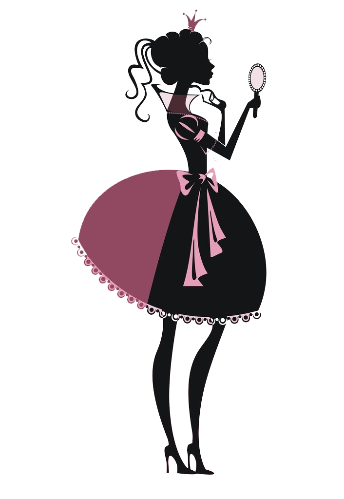 Princess silhouette poster illustration. Makeup clipart fashion makeup