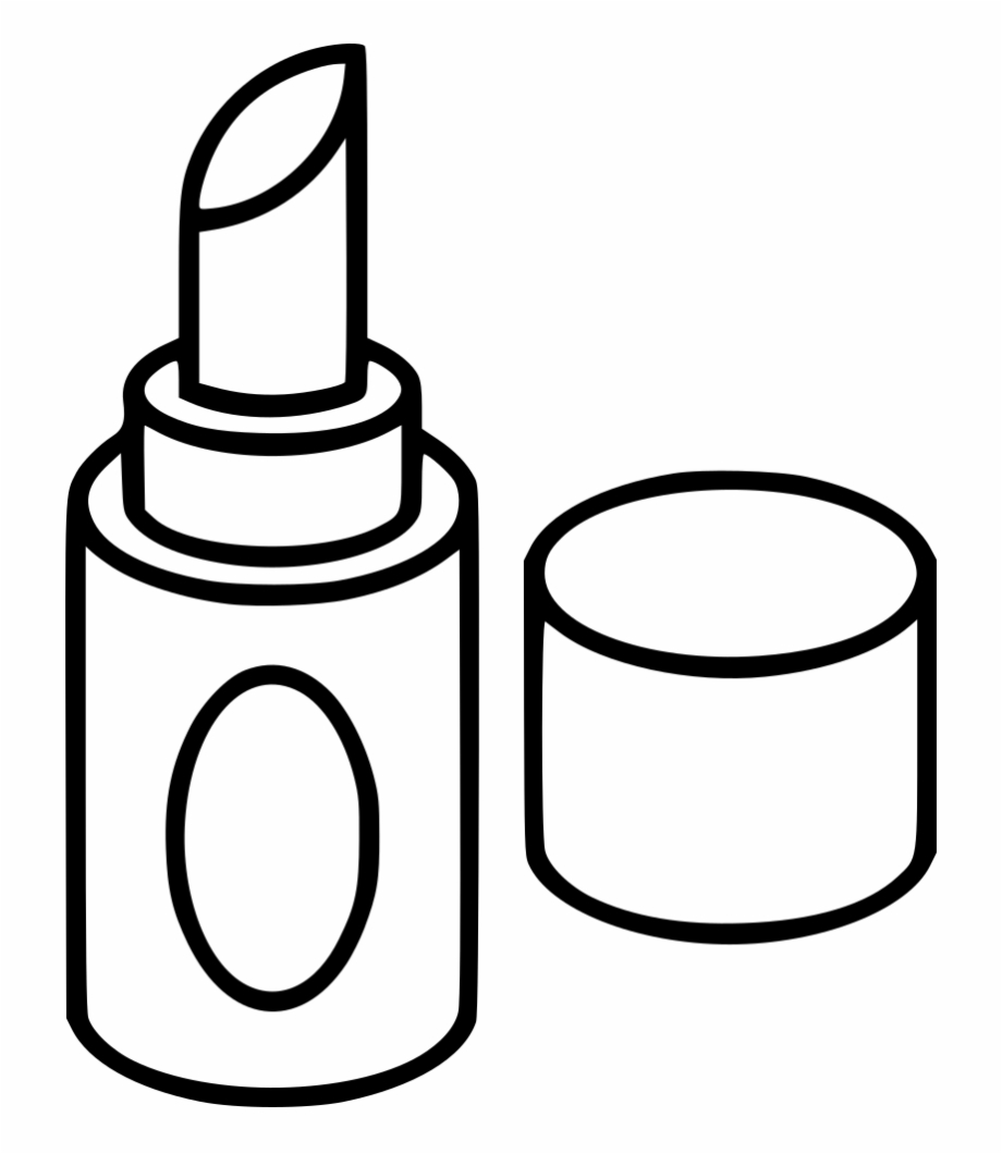 Makeup clipart icon. Lipstick drawing black and