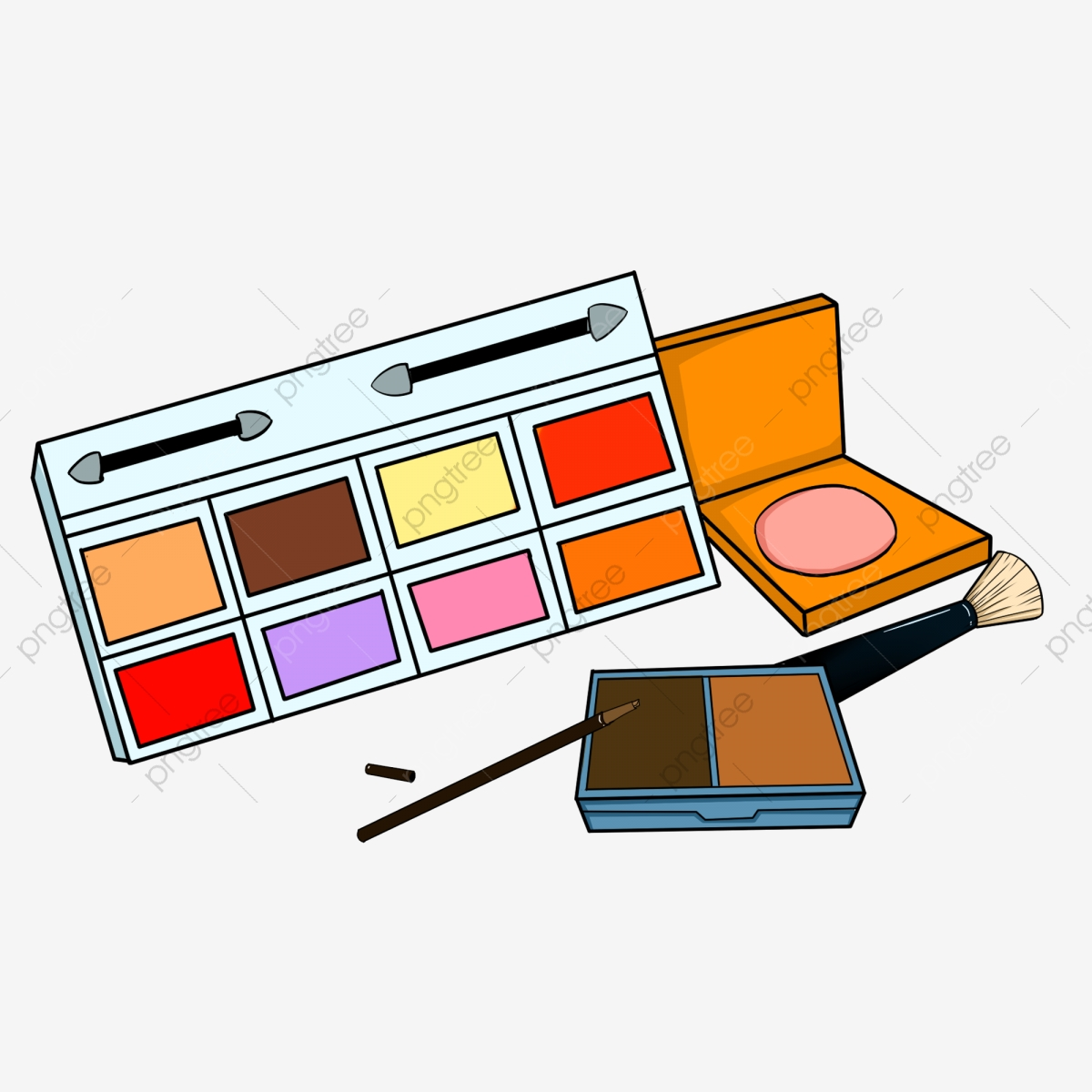 Hand painted female cosmetics. Makeup clipart makeup box
