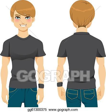 Male clipart blank man. Vector art handsome tshirt