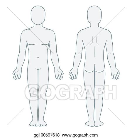 Vector illustration body front. Male clipart blank man