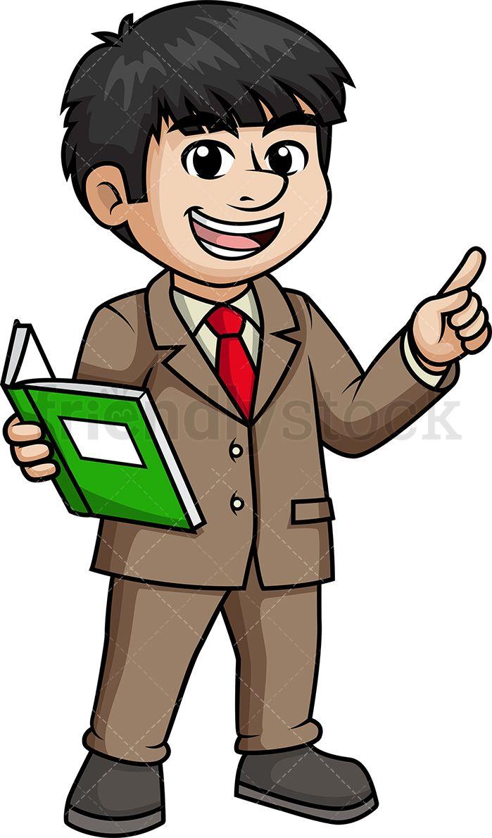 Asian teacher cartoon clip. Male clipart lecturer