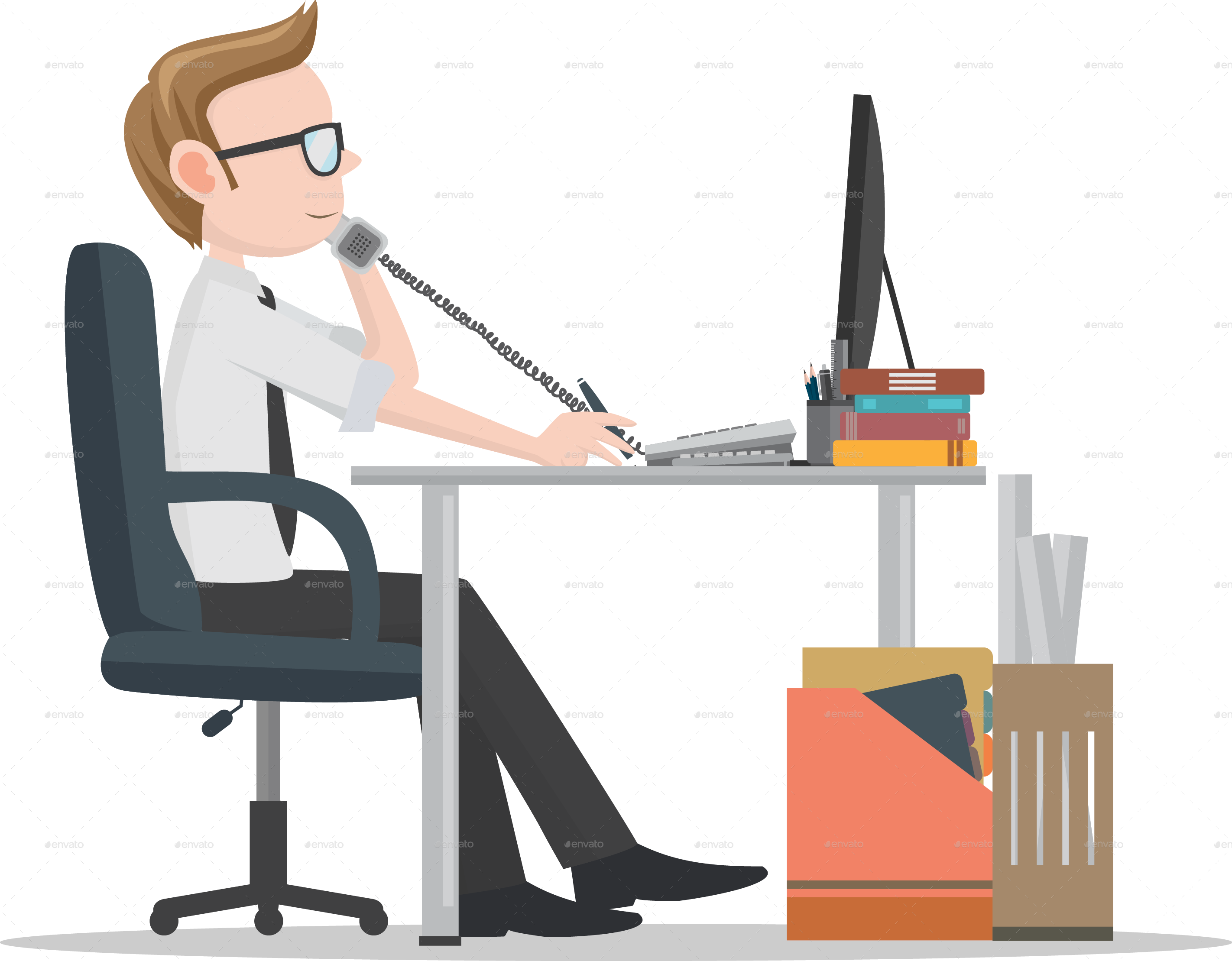 Working clipart office work. Workers on desk by
