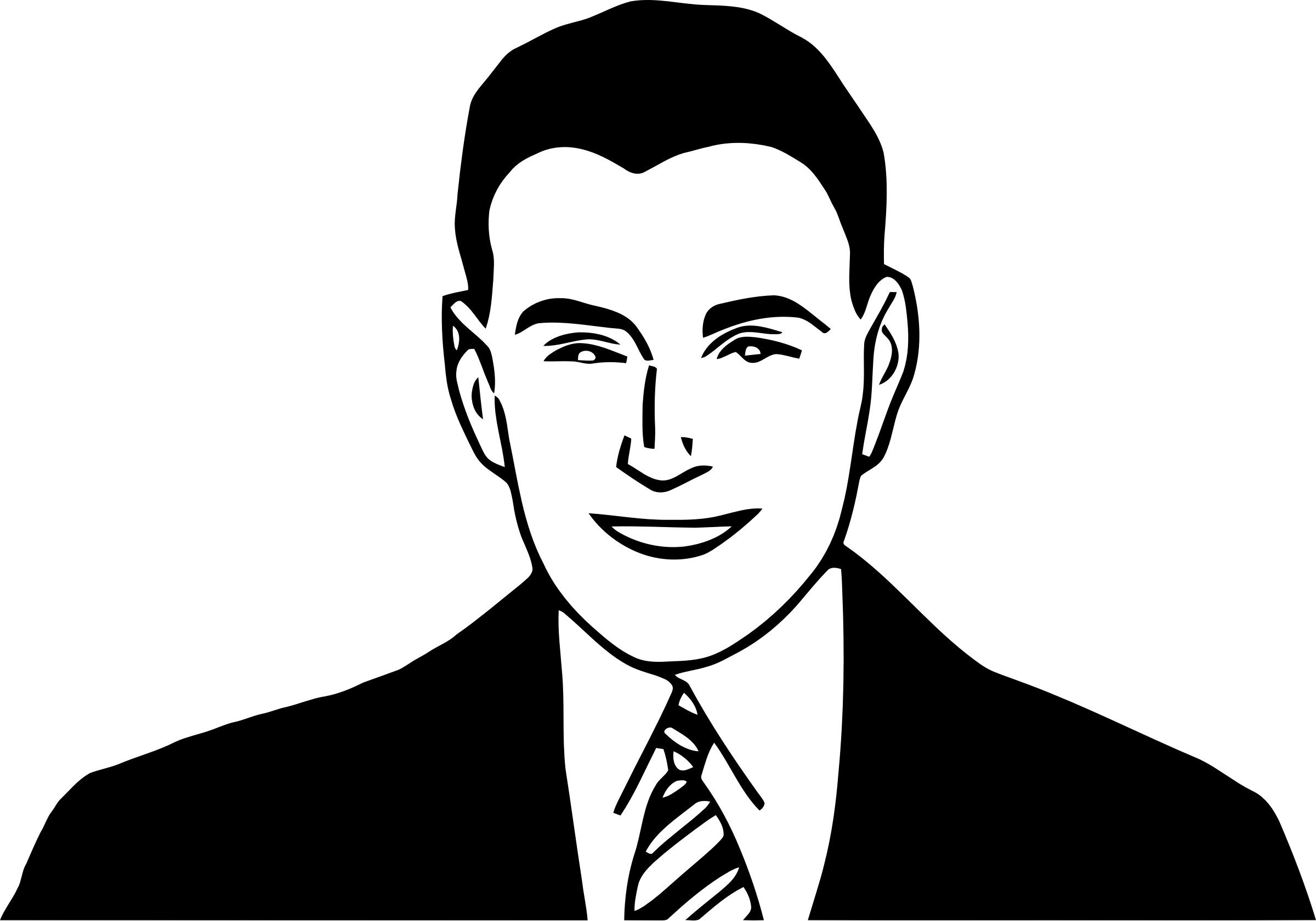 Smiling man big image. Male clipart realistic person