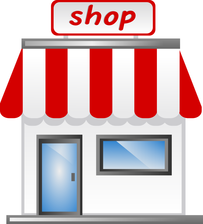 Image of shopping building. Mall clipart