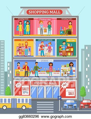 Mall clipart. Eps illustration shopping center
