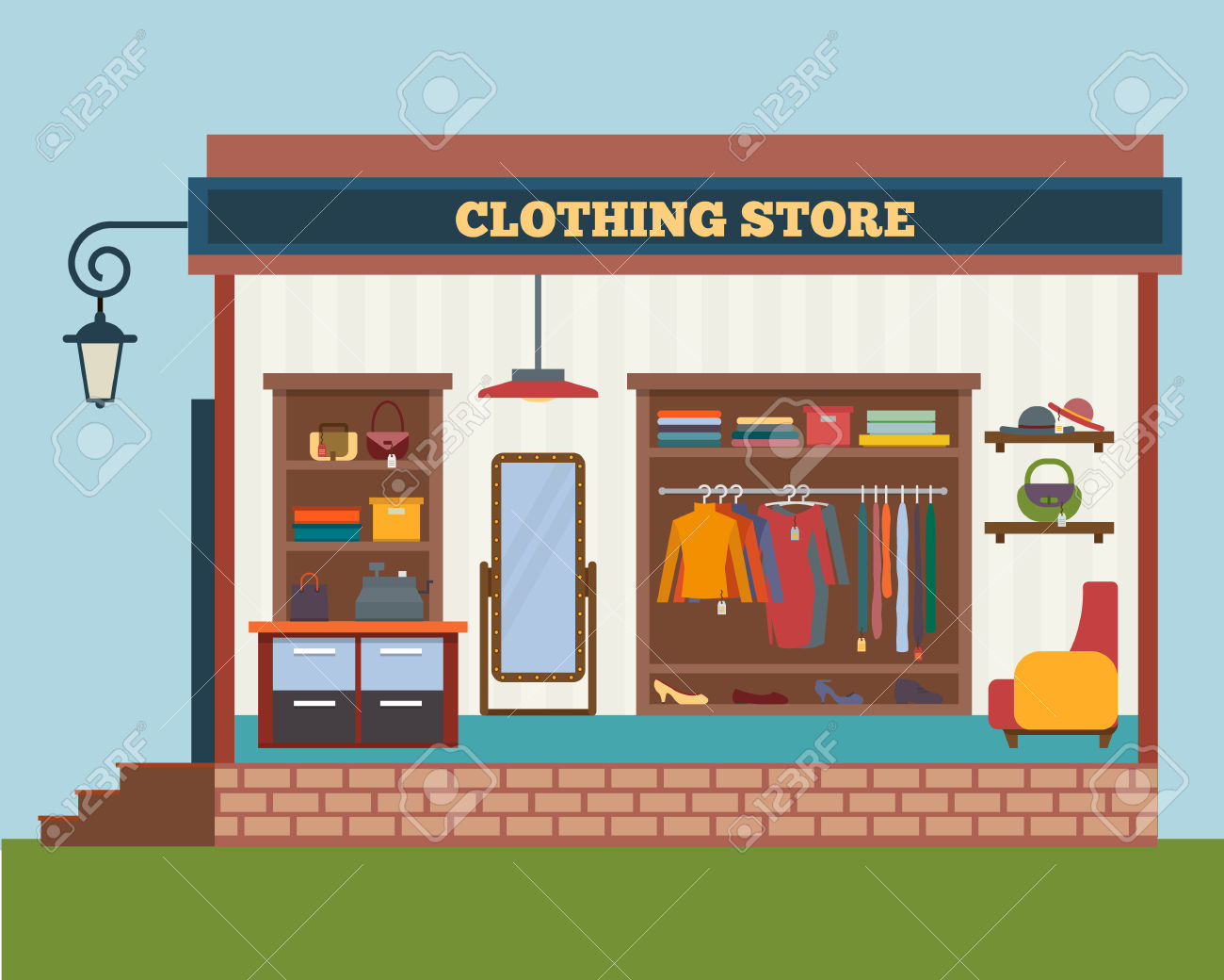 Shopping clip art library. Mall clipart clothing store building
