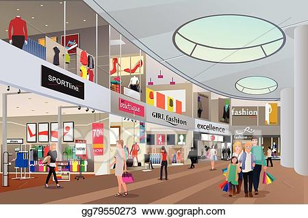 Mall clipart french shop. Eps illustration people shopping