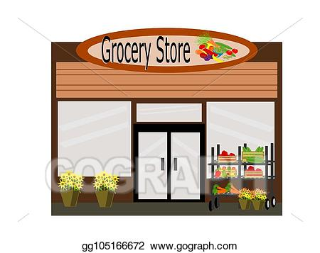 Mall clipart grocery store front. Vector art drawing