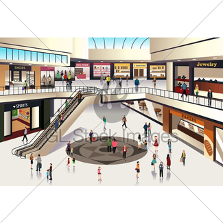 Mall clipart mall scene. Inside shopping gl stock