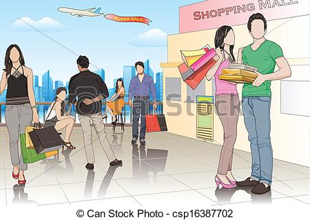 People in shopping easy. Mall clipart mall scene