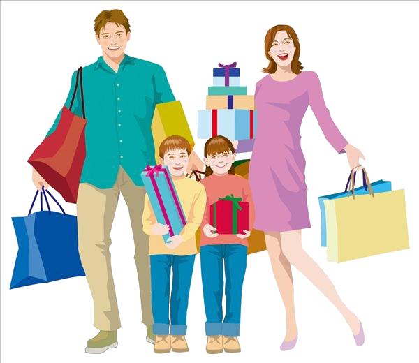 Shopping bag family clip. Mall clipart personal shopper
