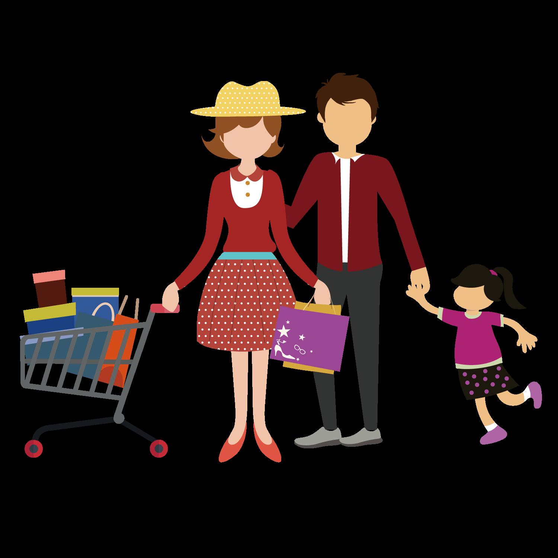 Mall clipart personal shopper. Shopping cart family clip
