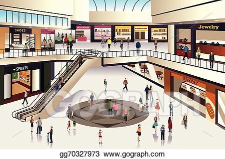 Eps illustration shopping vector. Mall clipart retail trade