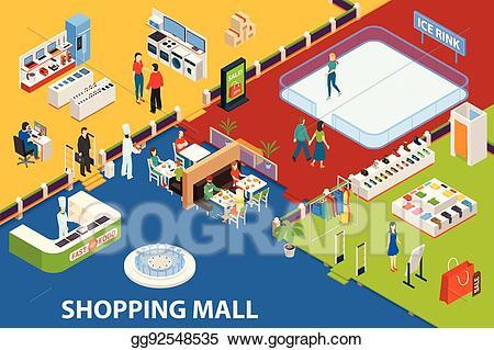 Mall clipart shopping plaza. Vector illustration center set