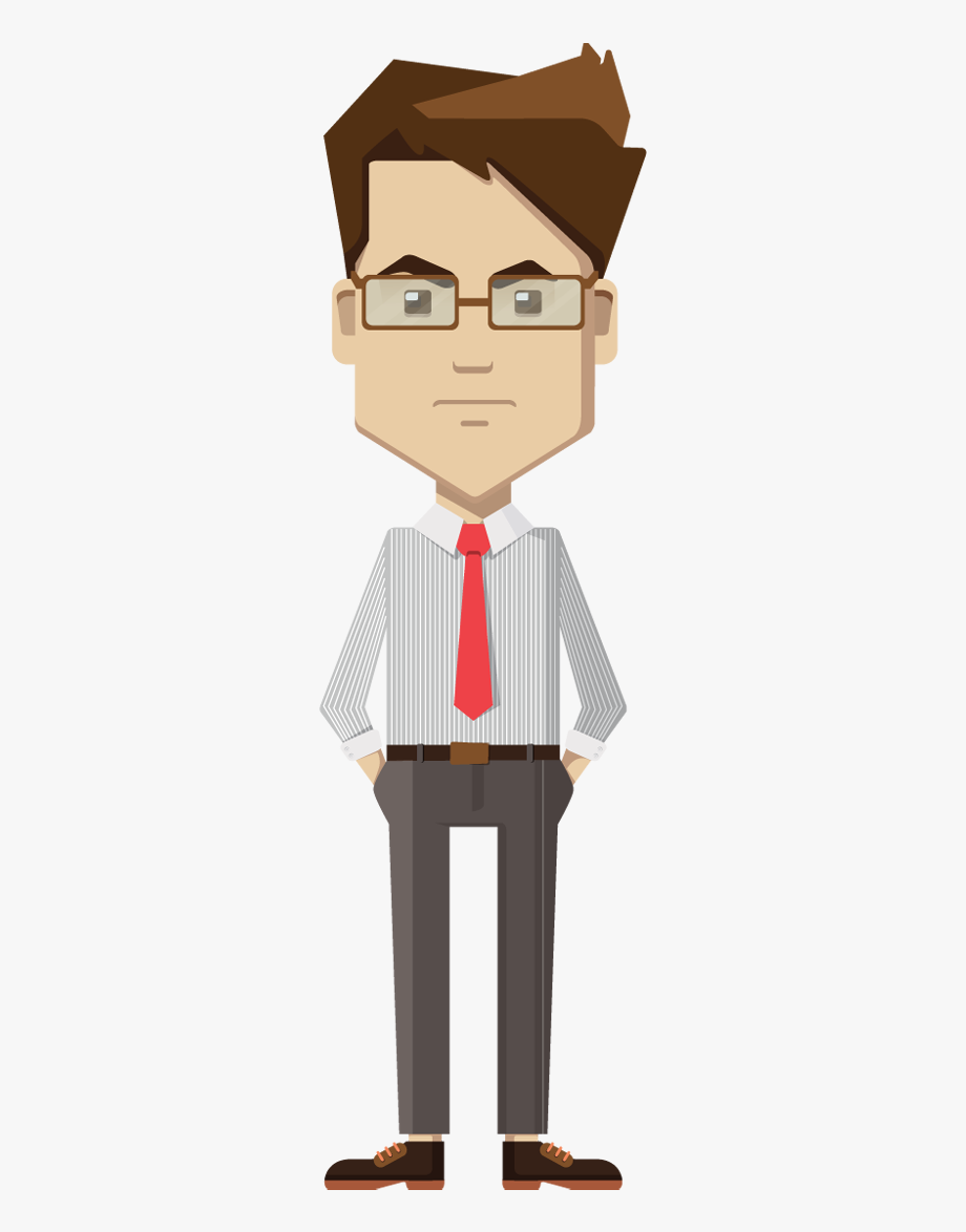 Businessman standing thinking png. Man clipart