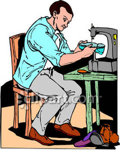 Using machine royalty free. Man clipart sewing