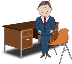 Manager clipart. Teacher between chair and