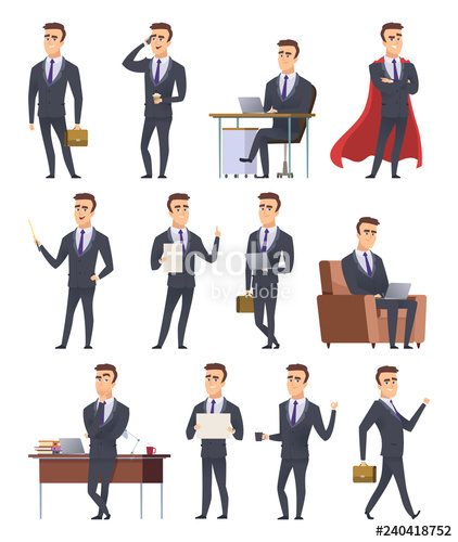 Poses characters professionals male. Manager clipart business worker