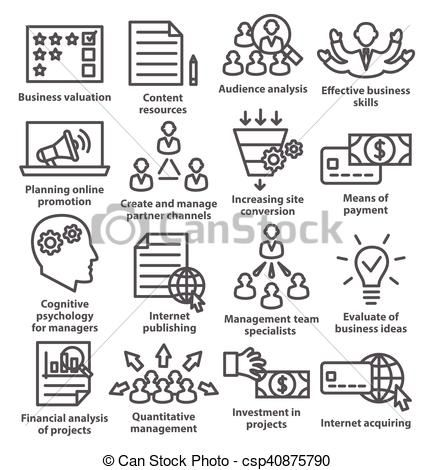 Vector business management icons. Manager clipart style