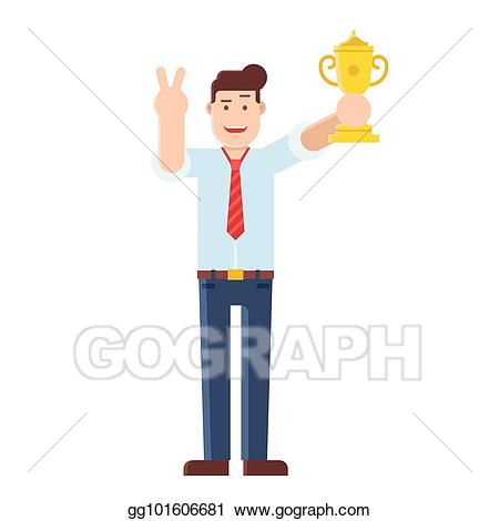 Manager clipart successful. Vector man holding trophy
