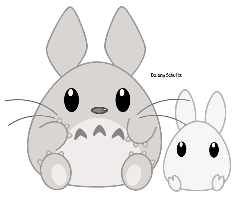 Manatee clipart chibi. Totoro by daieny on