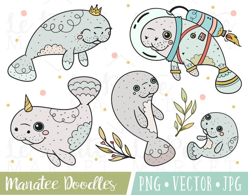 Manatee clipart christmas. Cute images set doodle