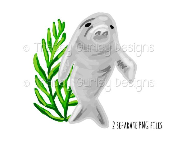 Clip art seaweed sublimation. Manatee clipart christmas