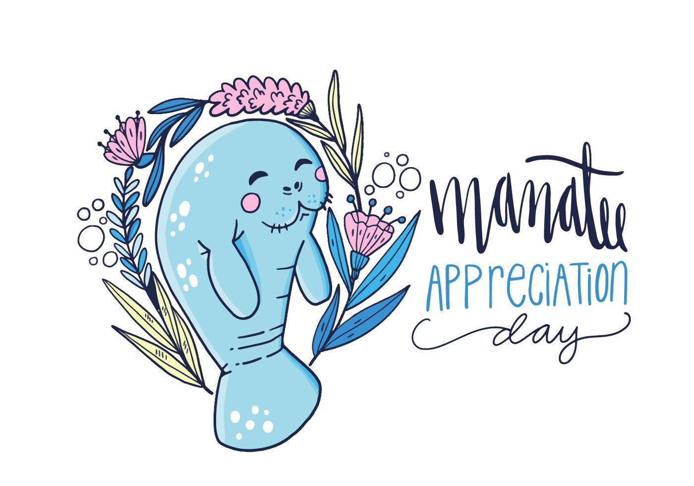 Cute character with flowers. Manatee clipart drawn