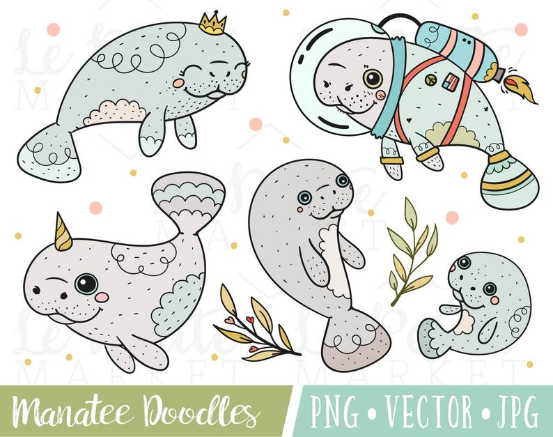 Manatee clipart drawn. Cute images set doodle
