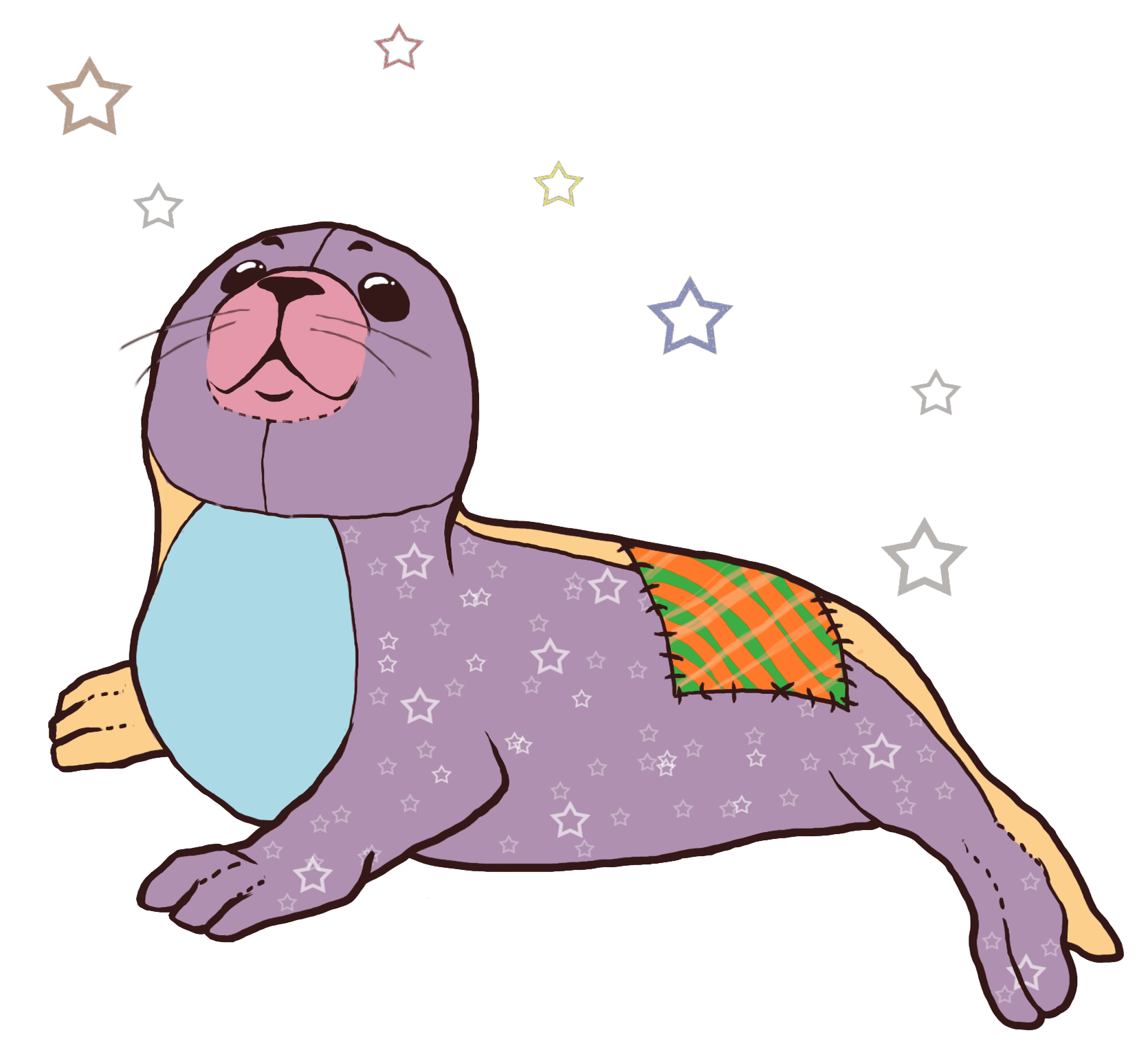 the stitched seal. Manatee clipart easy
