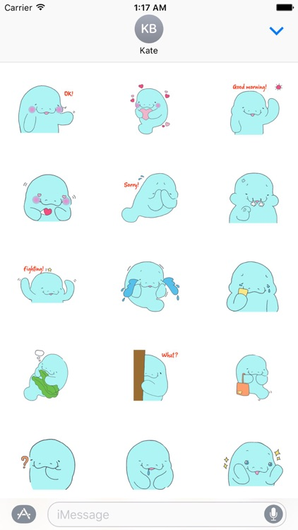 Manatee clipart emoji. Shy sticker by quang