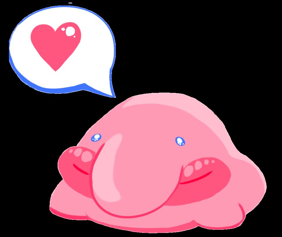 Manatee clipart emoji. Kiss blobfish love by