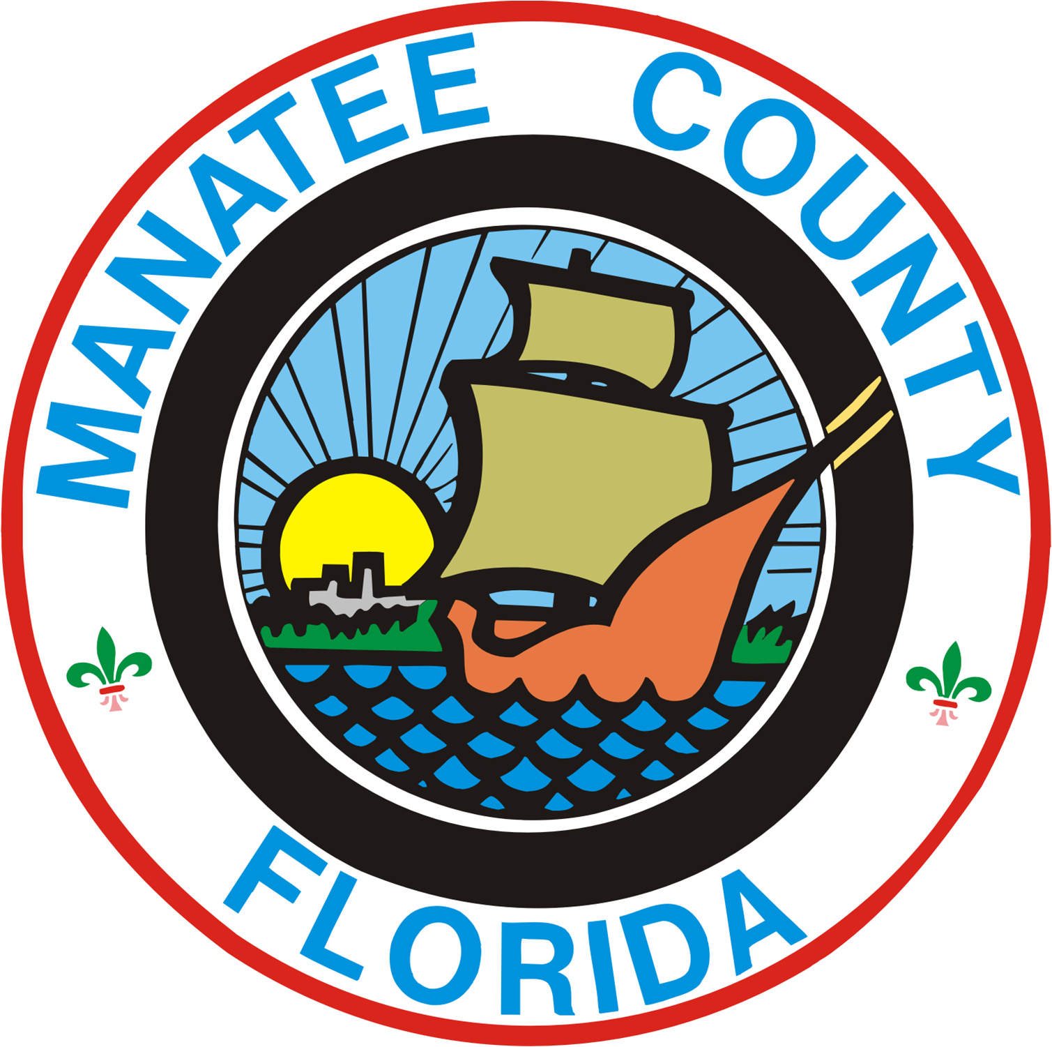 Manatee clipart florida state. File seal of county