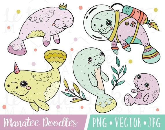 Illustration set cute illustrations. Manatee clipart kawaii