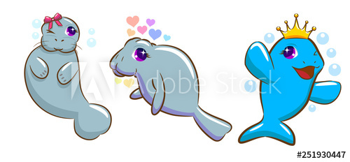 Buy this stock and. Manatee clipart vector