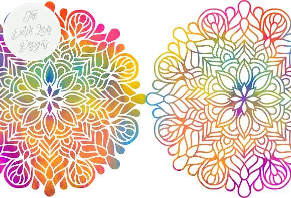 Set rainbow gold illustrations. Mandala clipart
