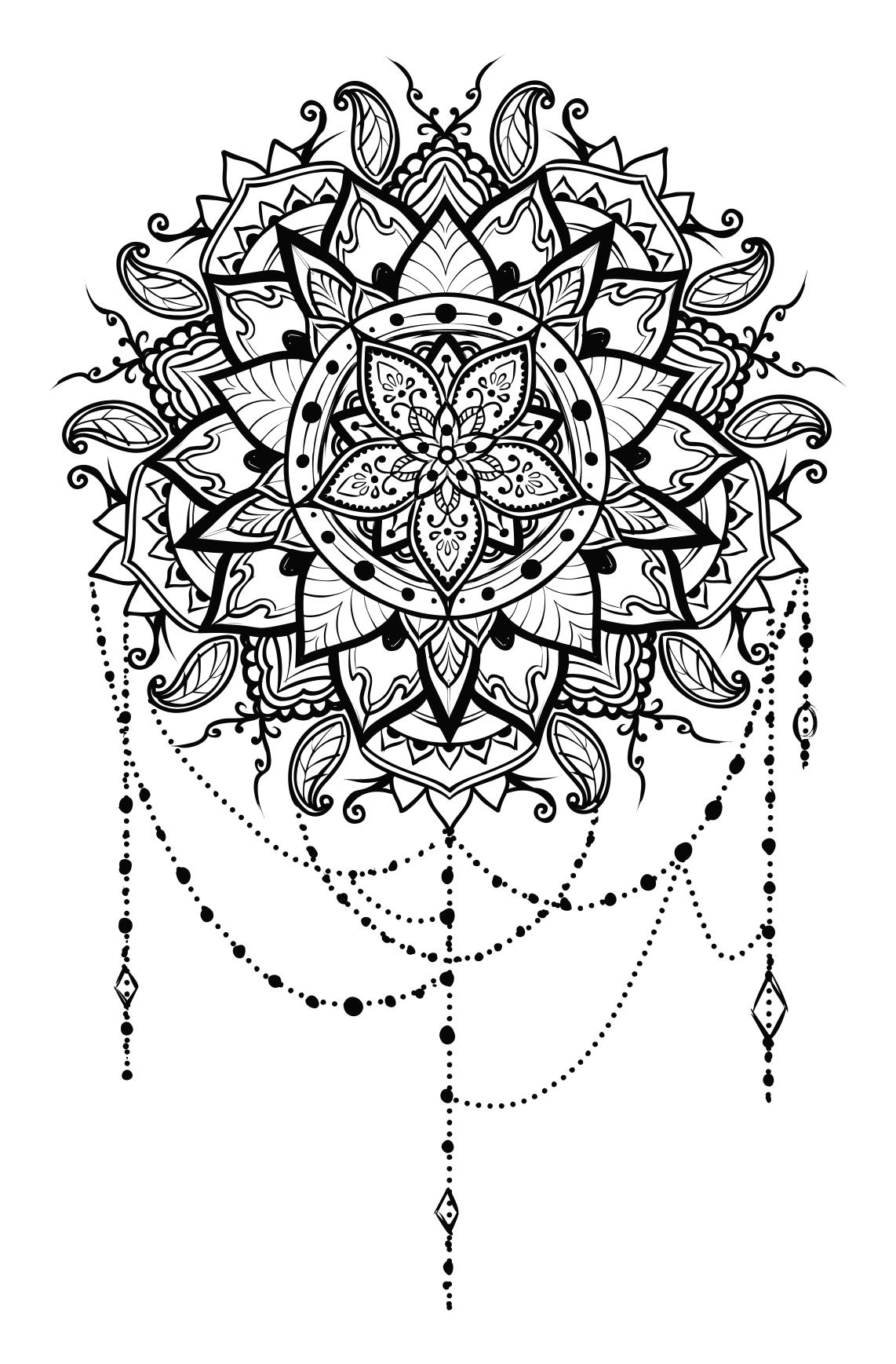Intricate floral design droide. Mandala clipart