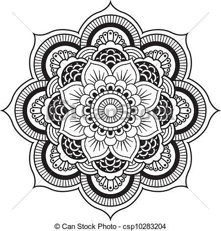 Vectors of henna flower. Mandala clipart