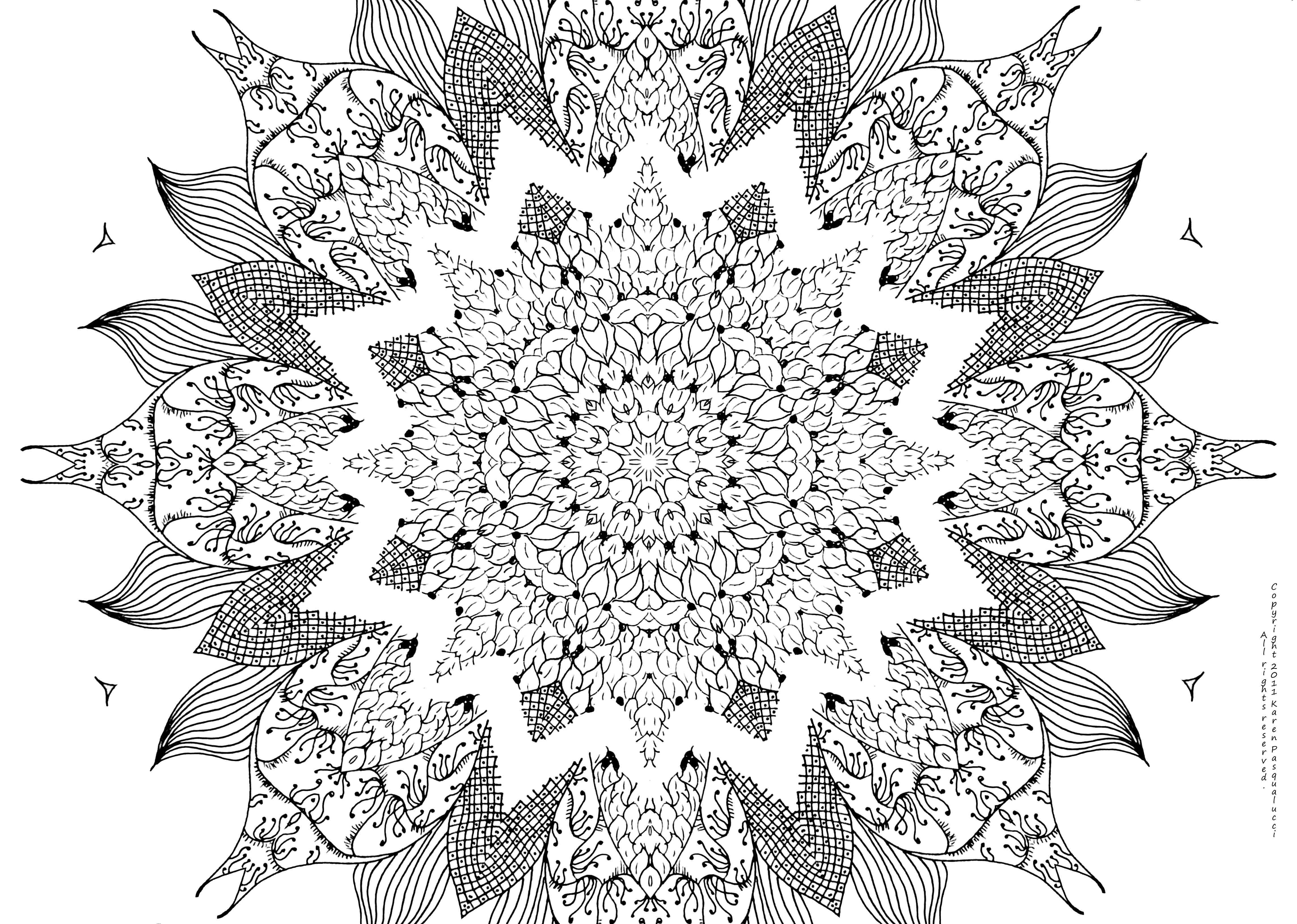 Mandala clipart big. Girly coloring pages