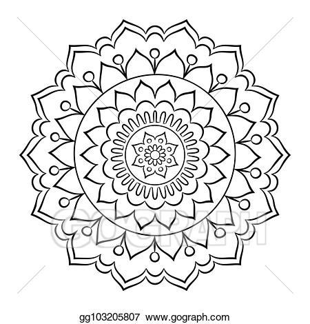 Mandala clipart outlined. Eps illustration doodle coloring