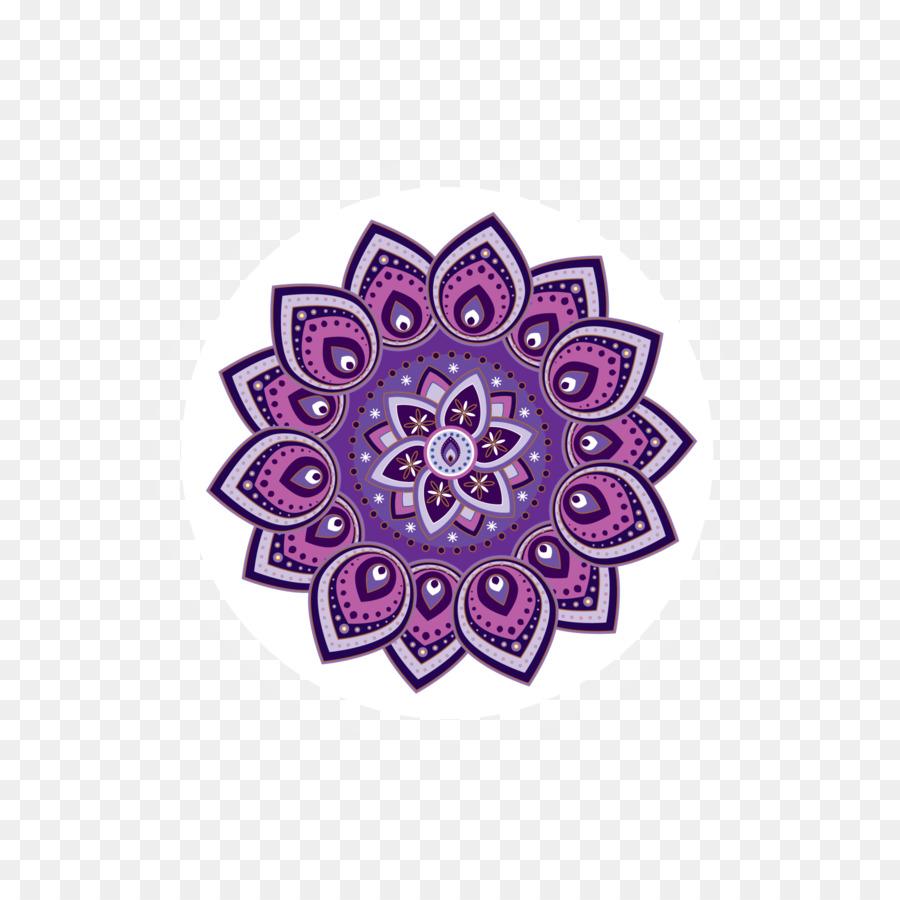 Pink flower cartoon purple. Mandala clipart rangoli