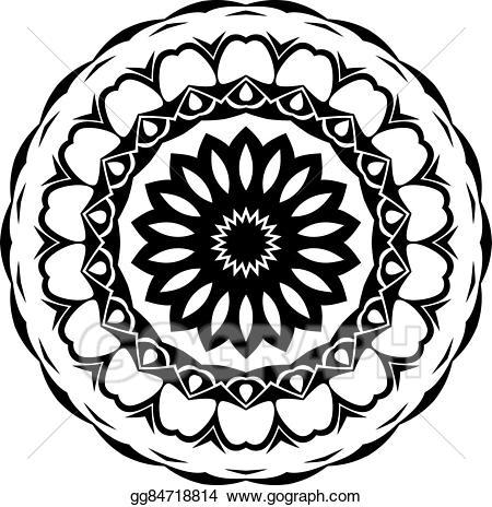 Vector black and white. Mandala clipart stock