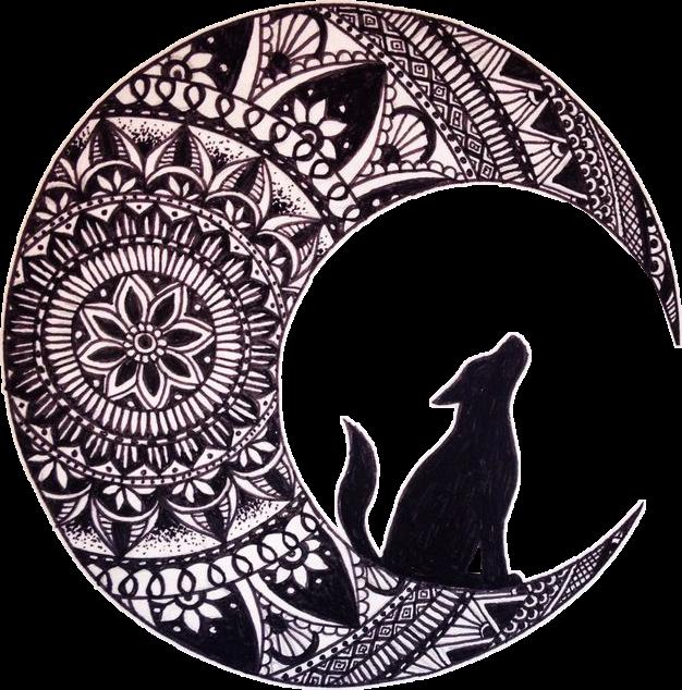 Wolf clipart mandala. Triball blackandwhite black and