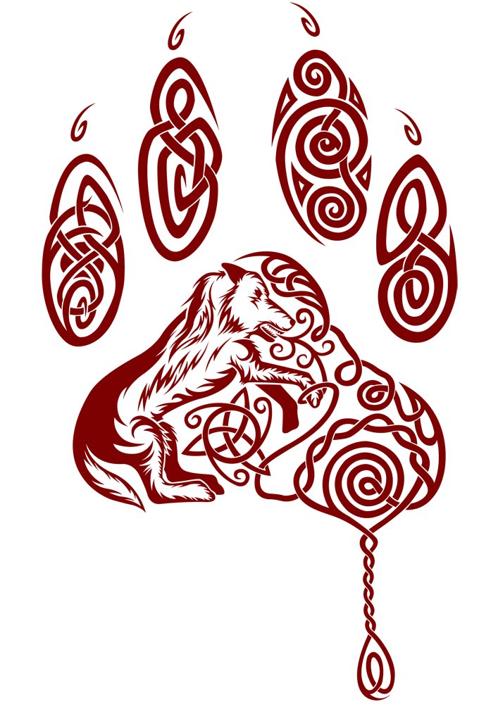 Enraged celtic tattoo by. Wolves clipart mandala