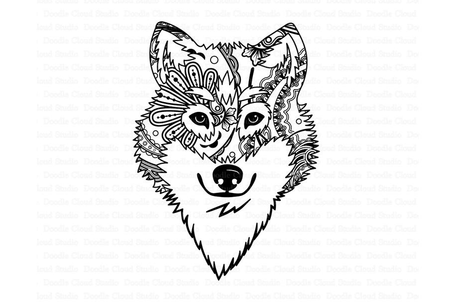 Wolf svg head . Wolves clipart mandala